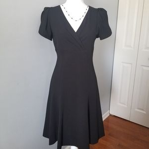 DKNY Ruffle Sleeves Black V-Neck Dress Size 2